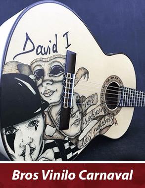 guitarra con vinilo personalizado con motivos de carnaval